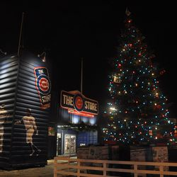 The holiday tree in front of the Cubs Store