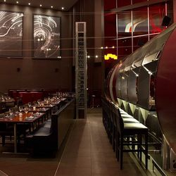 The dining room to the left, the bar to the right at Gordon Ramsay Steak.