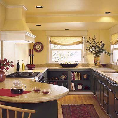 Galley kitchen with a mix of shelving and drawers.