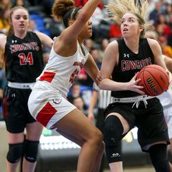 The Grantsville Cowboys compete against the Judge Memorial Bulldogs during the 3A girls basketball semifinals at the Lifetime Activities Center in Taylorsville on Friday, Feb. 21, 2020.