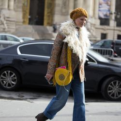 Spotted: A Dries van Noten fur lined jacket.