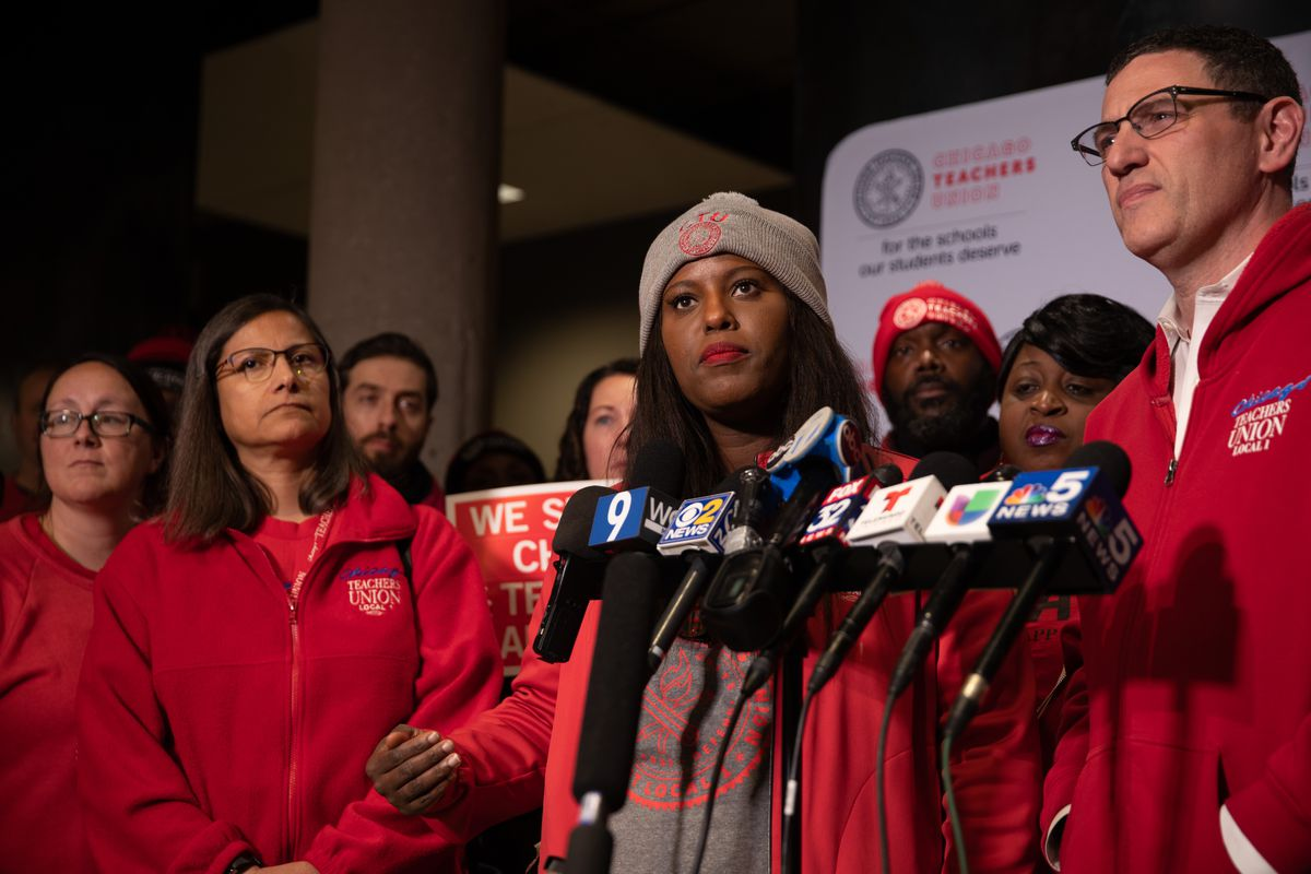 CTU Vice President Stacy Davis Gates speaks at press conference at CTU headquarters after a CTU meeting Tuesday, October 29.