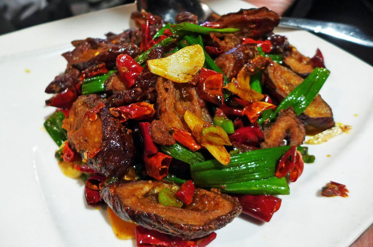 Crispy pork intestines at Hunan Bistro