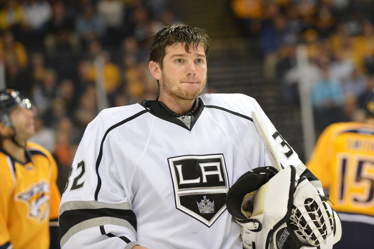 Jonathan Quick, seen here as he was seen for approximately 49 minutes of last night's game.