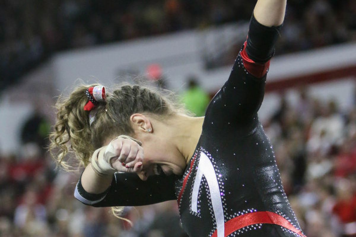 Getting shafted by the judges on the floor exercise? Don't care, gonna Dab anyway.