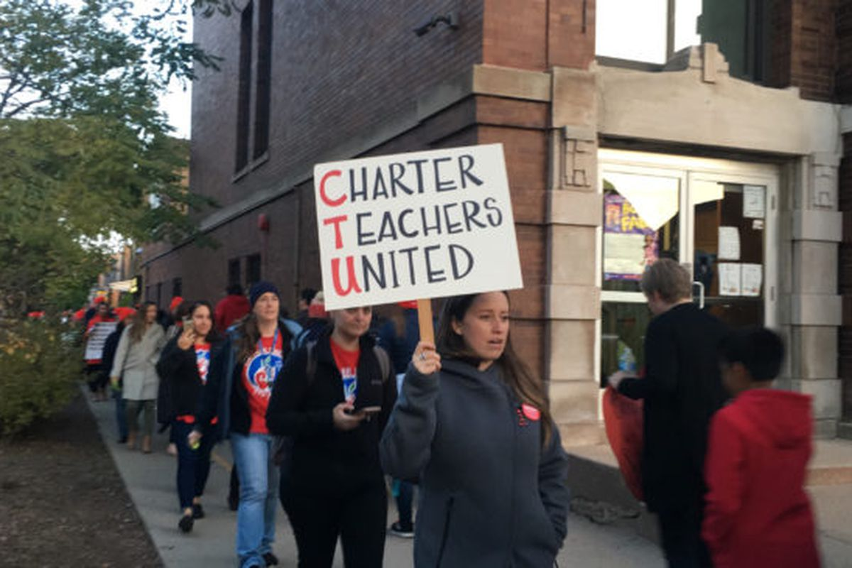 Members of the Chicago Alliance of Charter Teachers and Staff protest before an Acero network board meeting in October.