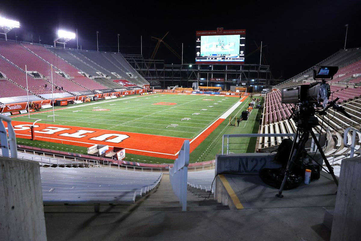 An empty Rice Eccles stadium waits for the Utah Utes and Oregon State Beavers to play a college football game in Salt Lake City on Saturday, Dec. 5, 2020.