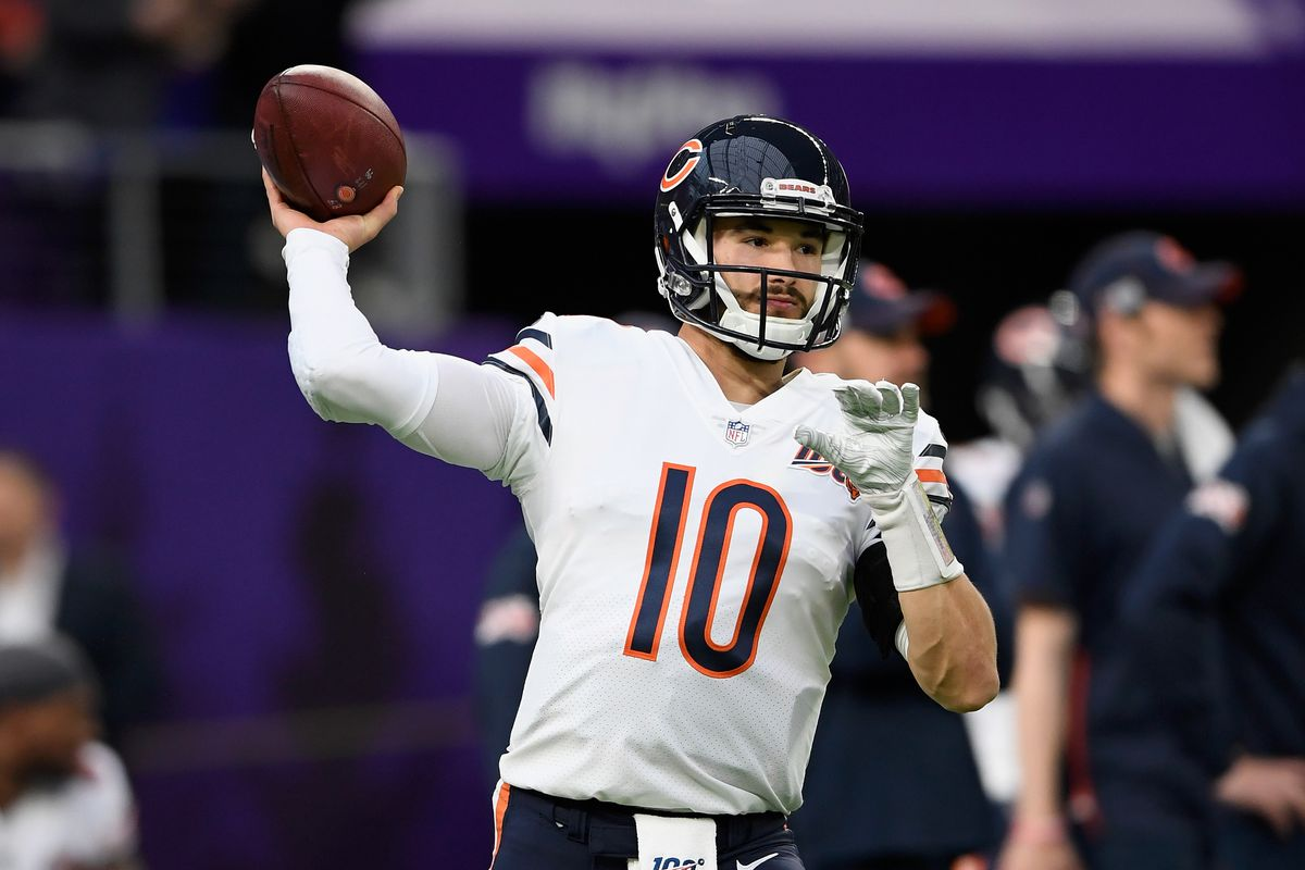 Bears quarterback Mitch Trubisky shows perfect form during warmups before a game against the Vikings last season.