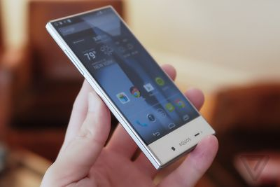 sharp aquos phone. but there is an edge here, and it\u0027s beveled sharp. the aquos crystal a little thicker than most smartphones today, it has matte plastic back sharp phone