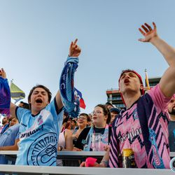 June 25, 2019 - Madison, Wisconsin, United States - Scenes from the Flock End during the Forward Madison FC vs Minnesota United FC friendly match at Breese Stevens Field.