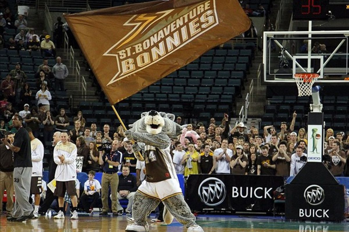 Mar 11, 2012; Atlantic City, NJ, USA;  St. Bonaventure Bonnies mascot during the first half of the finals of the 2012 Atlantic 10 Tournament against the Xavier Musketeers at Boardwalk Hall. Mandatory Credit: Jim O'Connor-US PRESSWIRE