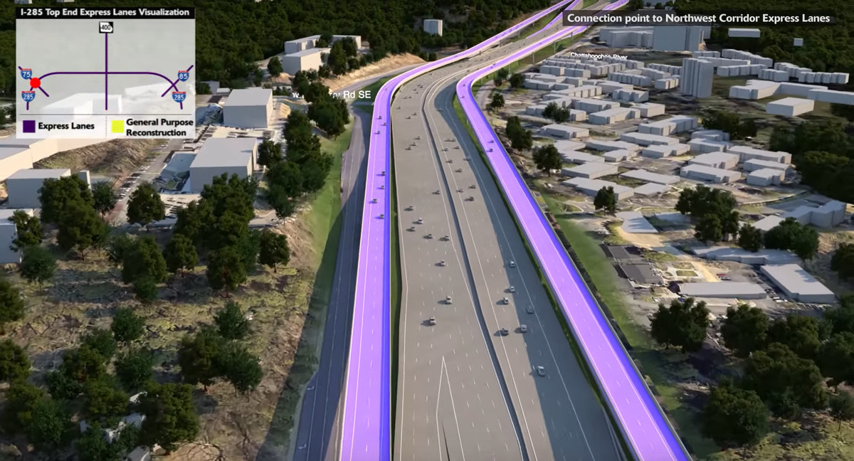 Between Interstate 75 and Ga. Highway 400, the express lanes would sit elevated on either side of the highway, the rendering shows.
