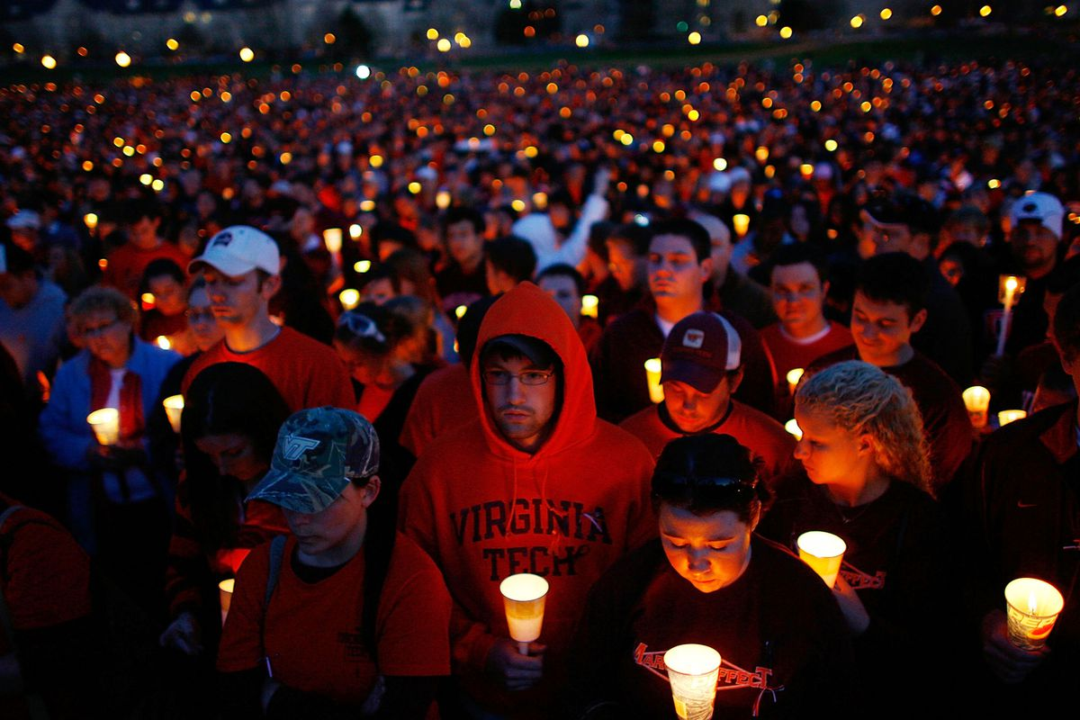 A vigil at Virginia Tech after the 2007 mass shootings. Since then, there have been several other shooting rampages at colleges.