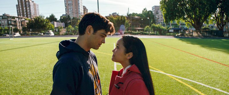 Lana Condor and Noah Centineo as Lara Jean and Peter Kavinsky in To All the Boys I've Loved Before