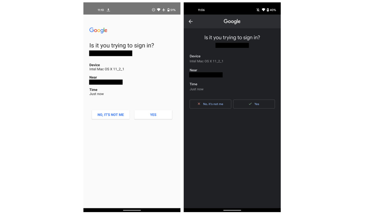 Google's new two-factor authentication prompt now has dark mode on Android