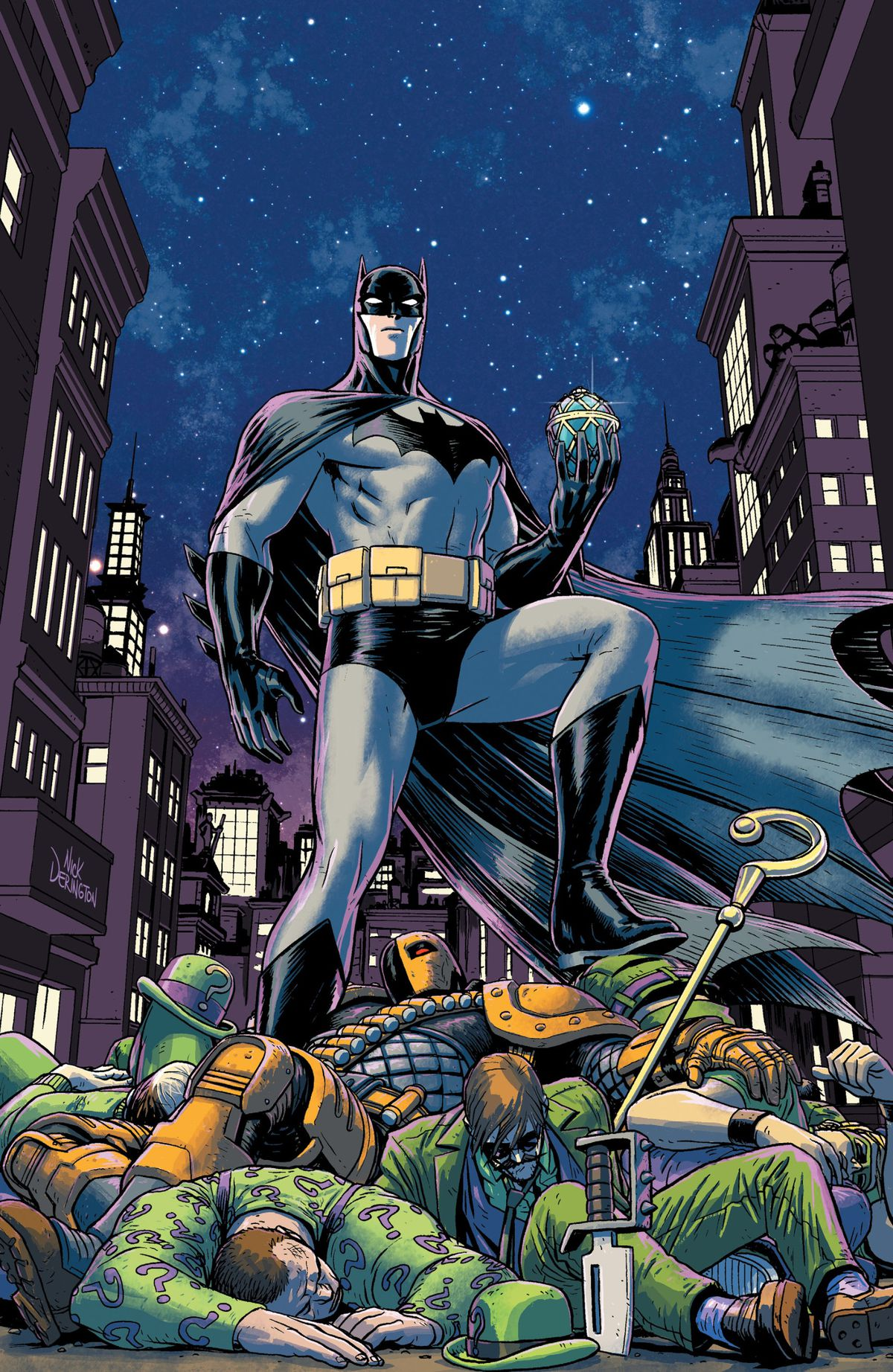 Batman stands on a pile of different people in different Riddler costumes, and Deathstroke, holding a Faberge egg in one hand, on the cover of Batman Universe (2020).