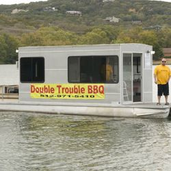 The Double Trouble BBQ Boat on Lake Austin