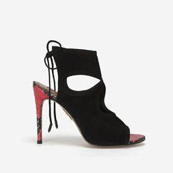 """<b>Aquazurra</b> Black Suede Sexy Thing Python Heel Stiletto Sandal, <a href=""""http://www.intermixonline.com/product/aquazurra+black+suede+sexy+thing+python+heel+stiletto+sandal.do?sortby=ourPicks&CurrentCat=106370"""">$465</a> at Intermix"""