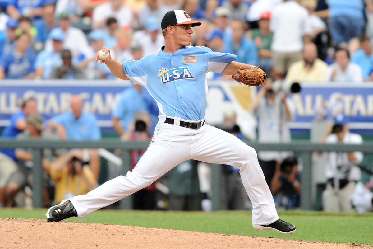 July 8, 2012; Kansas City, MO, USA; USA pitcher Dylan Bundy throws a pitch during the fourth inning of the 2012 All Star Futures Game at Kauffman Stadium.  Mandatory Credit: Denny Medley-US PRESSWIRE