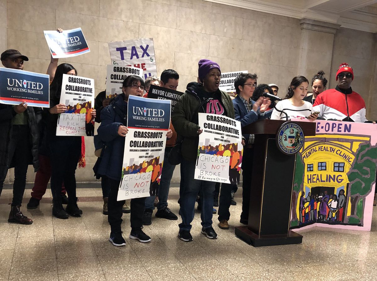 United Working Families held a news conference at City Hall on Wednesday, Nov. 20, 2019 urging aldermen to vote against Mayor Lori Lightfoot's 2020 budget.