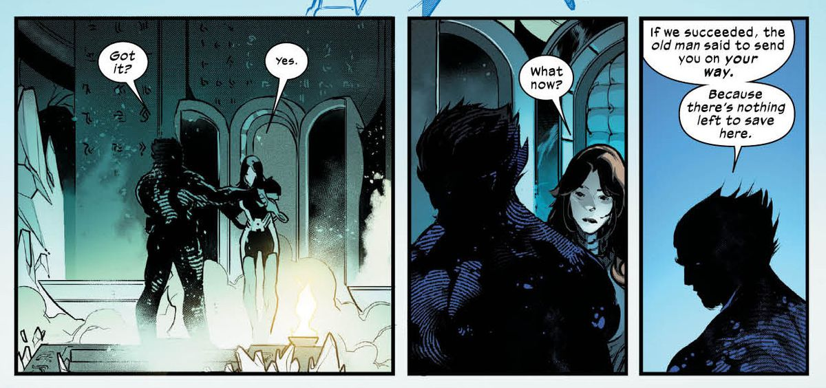 """""""If we succeded, the old man said to send you on your way,"""" Wolverine tells Moira, """"Because there's nothing left to save here,"""" in Powers of #3, Marvel Comics (2019)."""