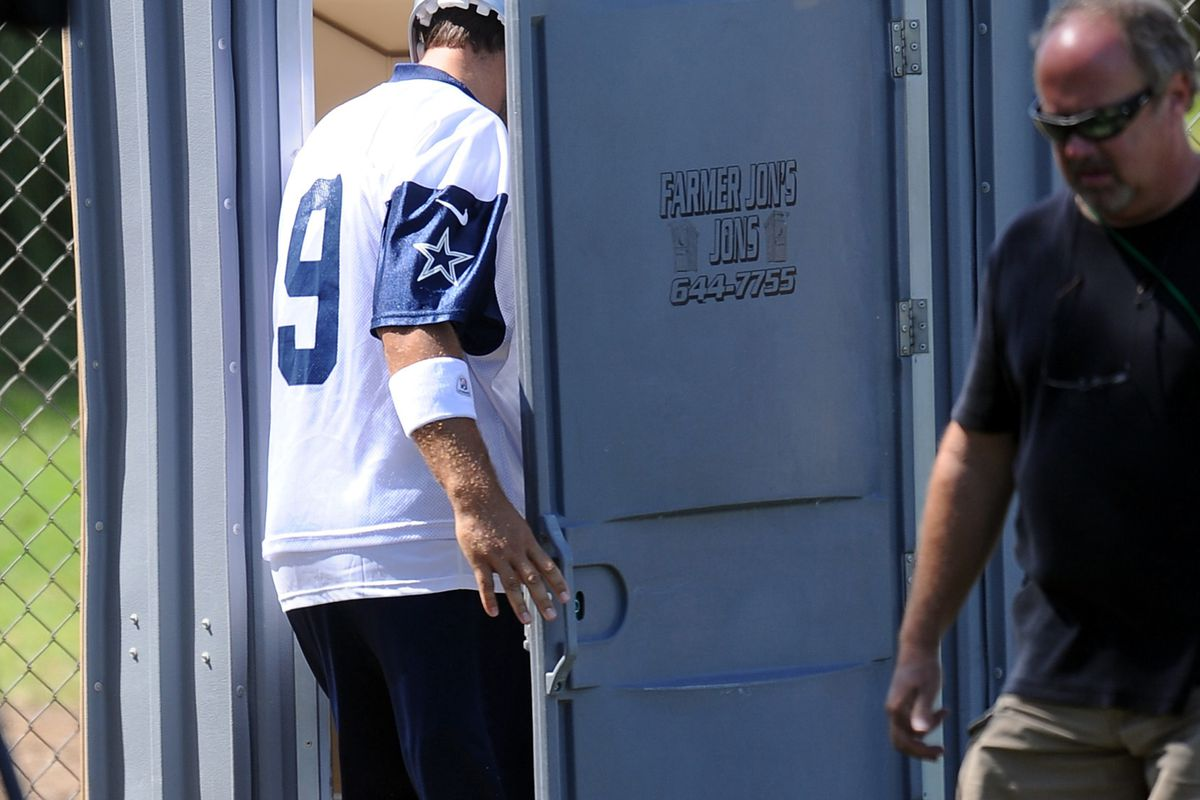 Taken July 30, 2012. There is a photographer out there with an unhealthy interest in Tony Romo's toilet habits.