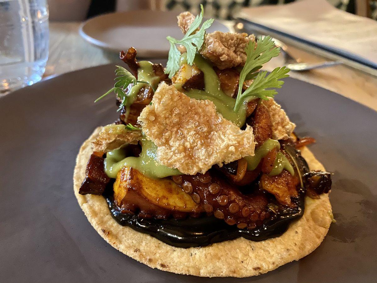 Octopus, chicharron, and squid ink sauce on top of a crispy tortilla
