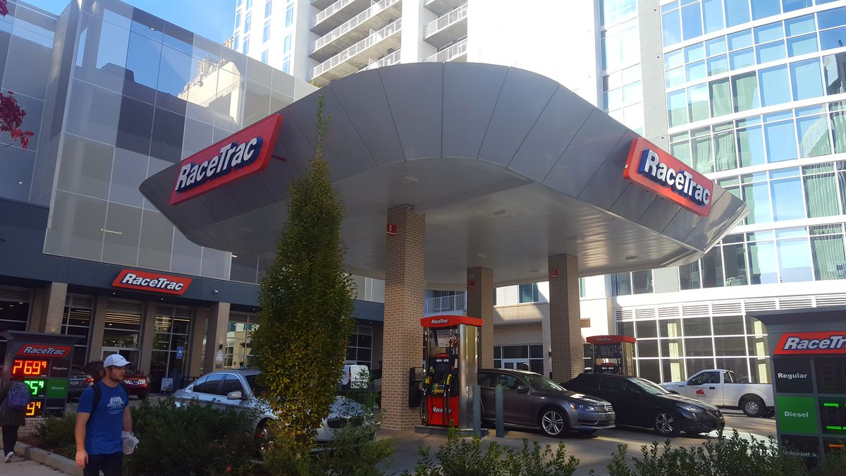 A close-up view of the new gas station.