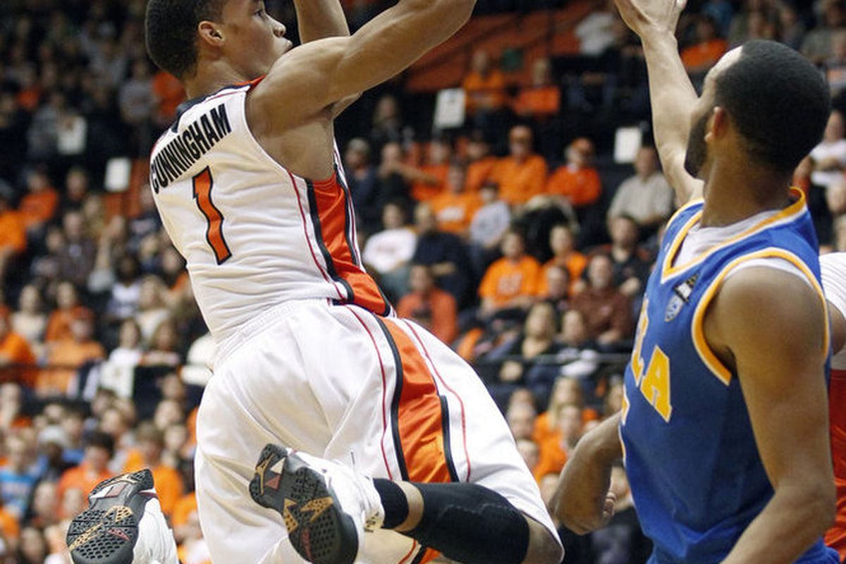 Oregon St.'s Jared Cunningham had 16 of his game high 21 points in the second half to lead the Beavers to an 87-84 win over UCLA. <em>(AP Photo)</em>