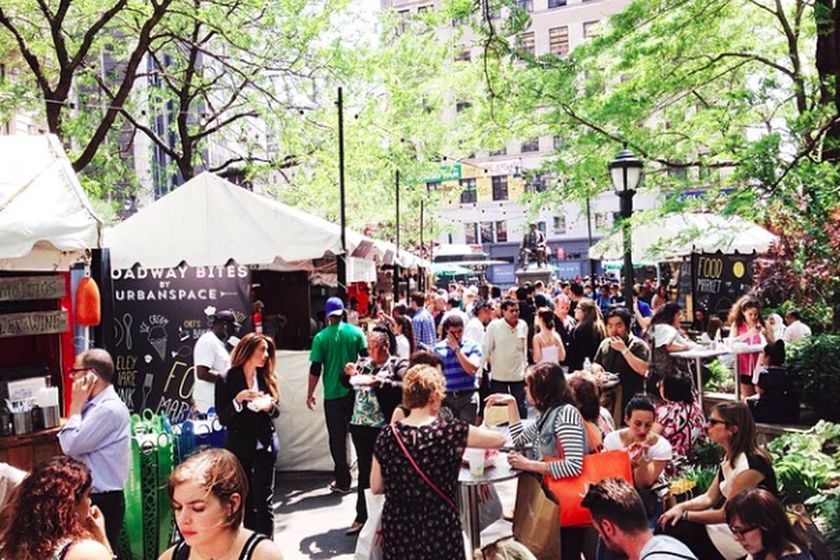 """Broadway Bites, an UrbanSpace-hosted food market that took place earlier this year, via Instagram/<a href=""""http://instagram.com/urbanspacenyc"""">@urbanspacenyc</a>"""