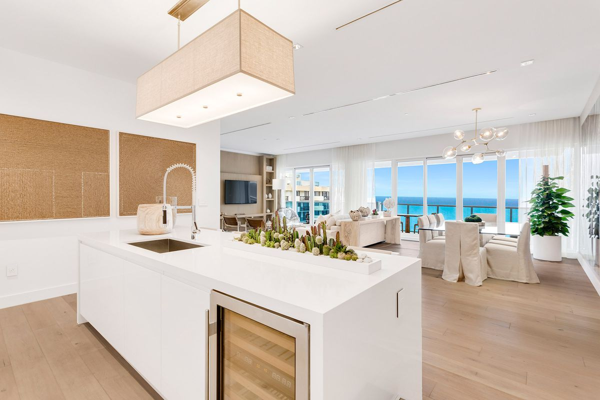 A 1 Hotel & Homes penthouse kitchen overlooking the ocean