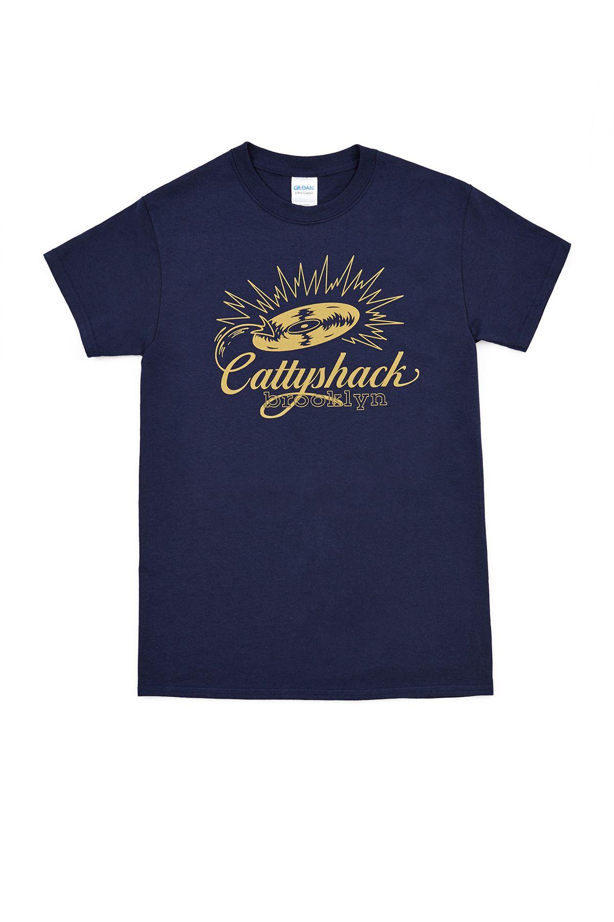 Navy T-shirt for the Cattyshack bar