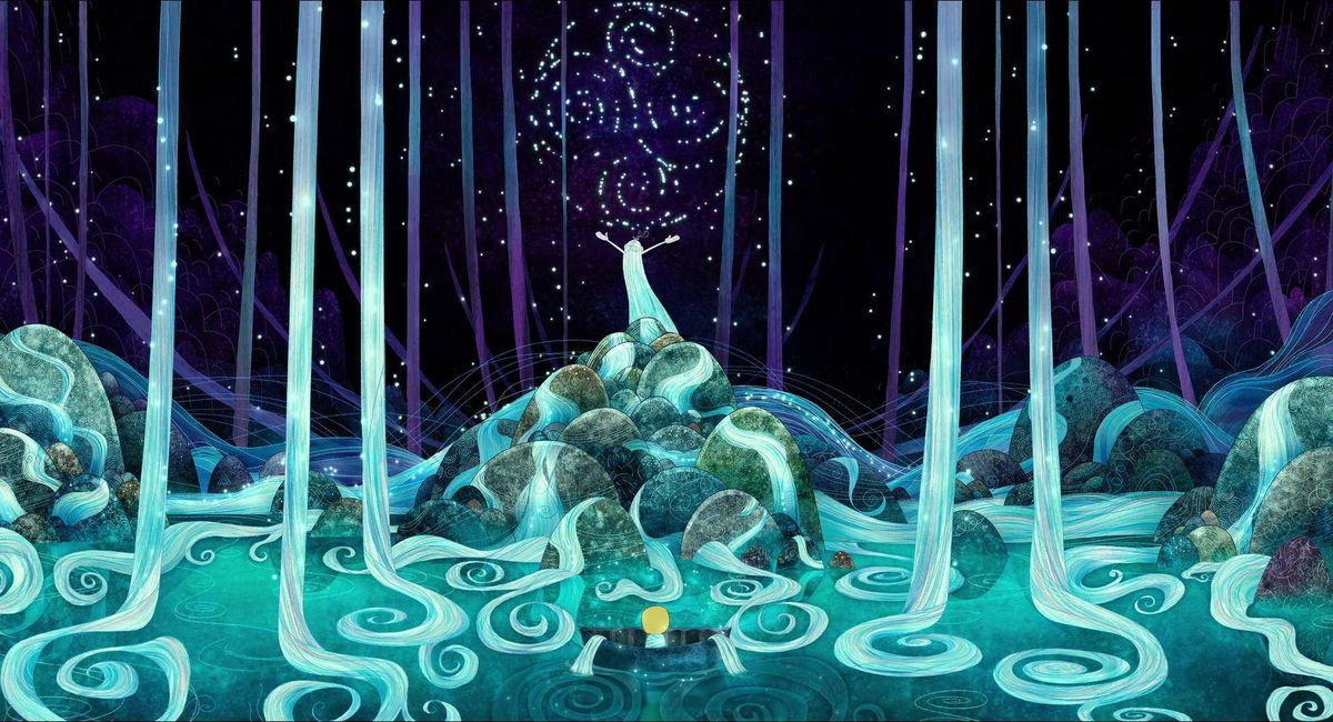 An old man with a white beard so long that it cascades between the trees speaks to a blonde child in a watery blue landscape in Song of the Sea