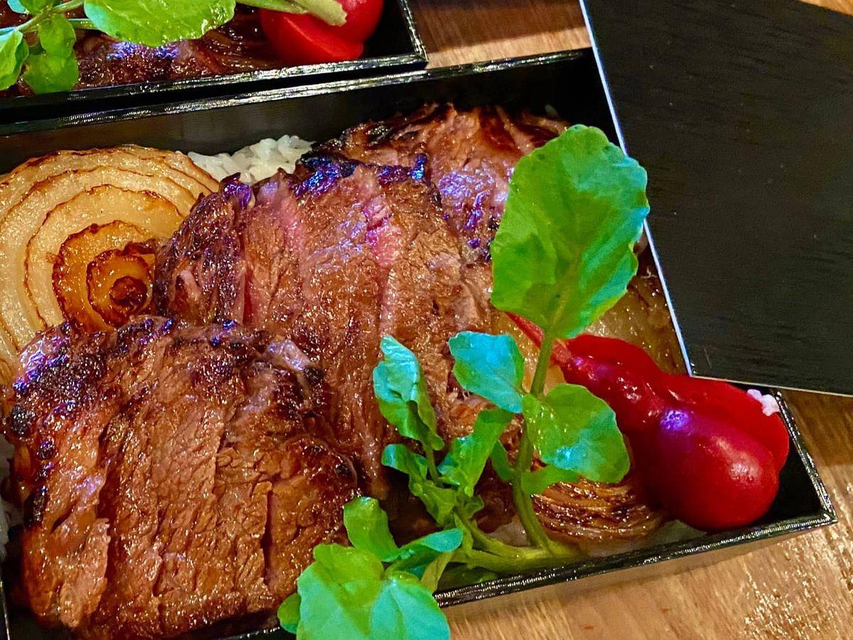 To-go wagyu steak meal at Kiraku