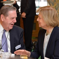Elder Jeffrey R. Holland speaks with Baroness Emma Nicholson of Winterbourne at a breakfast meeting Wednesday morning in the Churchill Room in the House of Commons before he spoke in the House of Lords to a committee chaired by the baroness. The baroness also heads a charity, the AMAR Foundation, which partners with LDS Charities on aid projects in the Middle East.