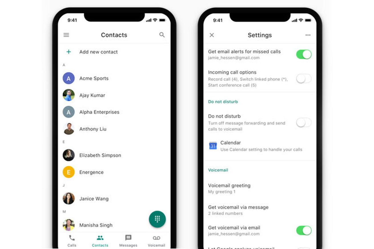 google voice updated with new icon contacts tab and improved do not disturb
