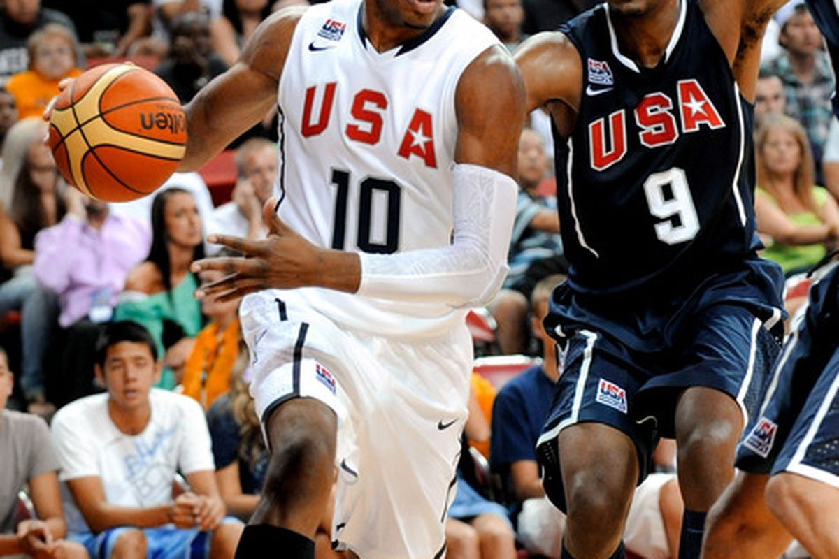 Danny Granger takes the ball baseline drawing the defense in last night's USA Basketball Showcase.
