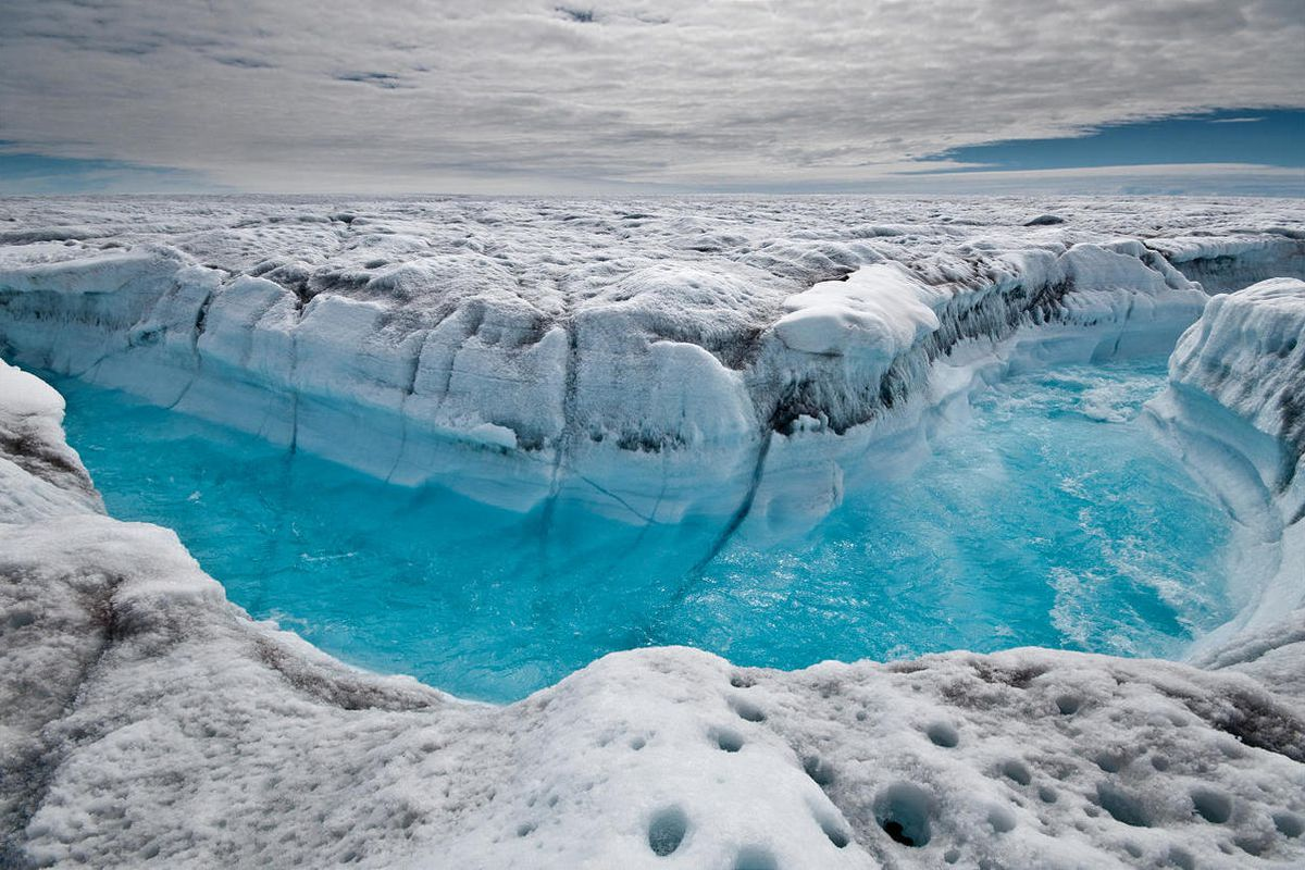This July 4, 2012, file photo provided by Ian Joughin shows surface melt water rushing along the surface of the Greenland Ice Sheet through a supra-glacial stream channel southwest of Ilulissat, Greenland.