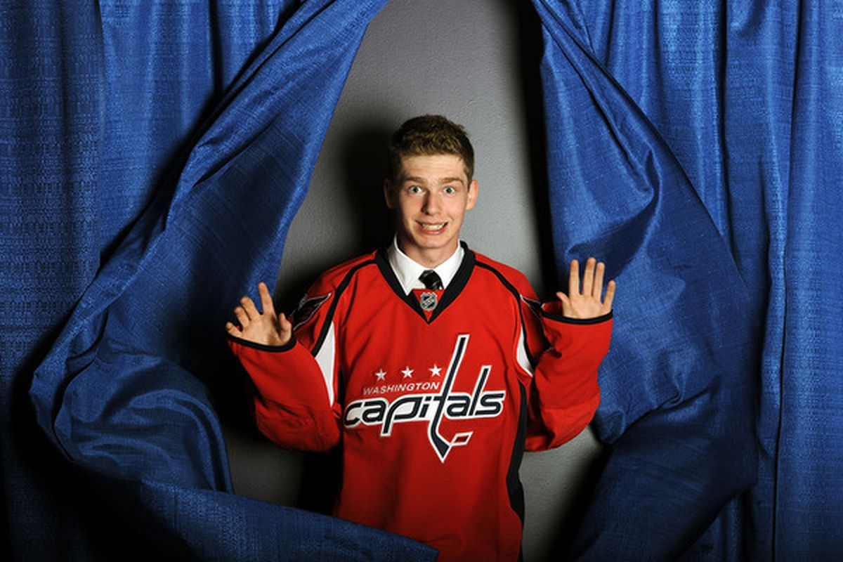 Evgeny Kuznetsov hasn't scored in the 2012 IIHF World Junior Championship just yet, but that doesn't mean he's been hiding.  Oh, the joy of these ridiculous draft day photos.  (Photo by Harry How/Getty Images)