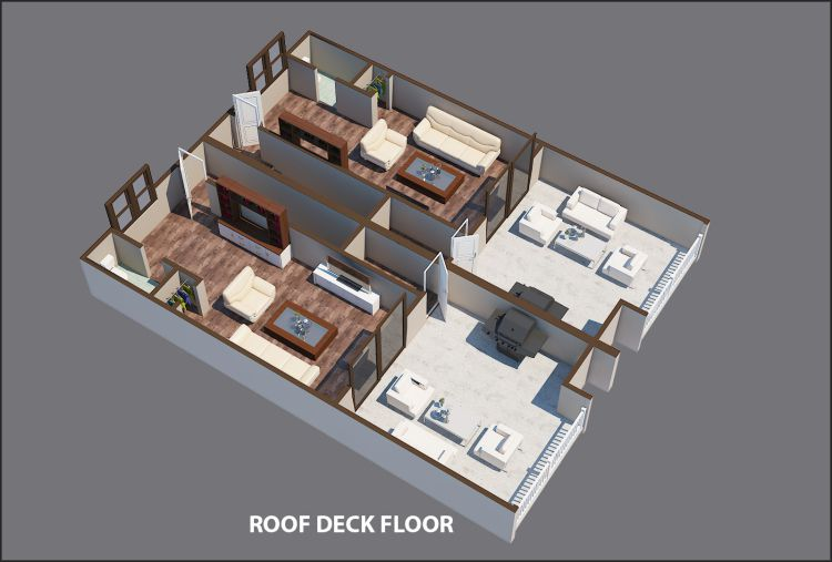 A rendering showing the roof deck of a townhome in Atlanta with a gray backdrop.