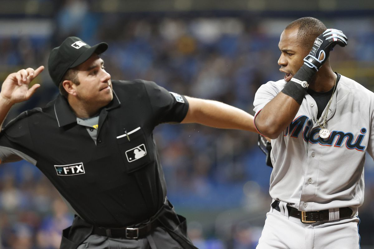Miami Marlins right fielder Bryan De La Cruz (77) gets ejected from the game during the first inning against the Tampa Bay Rays at Tropicana Field