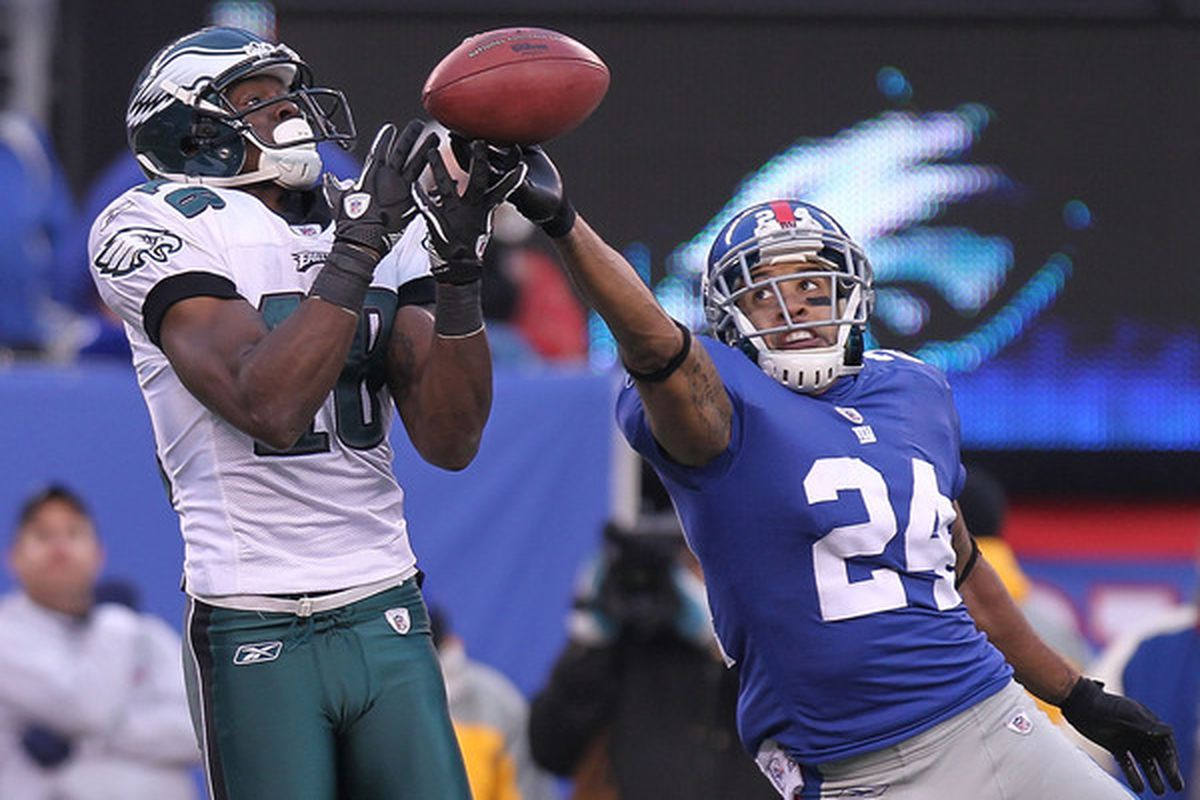 Terrell Thomas (24)  of the New York Giants breaks up the pass intended for Jeremy Maclin (18) of the Philadelphia Eagles at New Meadowlands Stadium on December 19 2010 in East Rutherford New Jersey.  (Photo by Nick Laham/Getty Images)