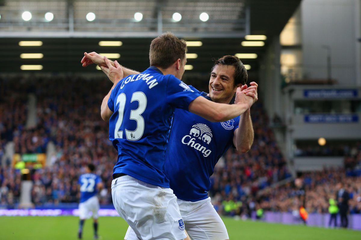 Seamus Coleman celebrates a goal with Leighton Baines.