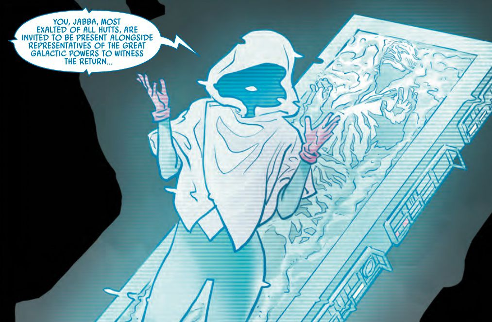 A hooded figure standing in front of a frozen figure in Han Solo's Carbonite speaks to Jabba the Hutt in a hologram during Star Wars: Bounty Hunter War # 1 (2021).