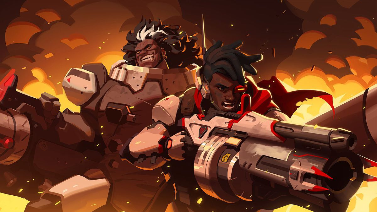 Overwatch - Art from Baptiste's Reunion short story. A young Baptiste, wearing a Talon uniform, fights side by side with Mauga, a broad man in a Talon Heavy Gunner uniform with a big grin.