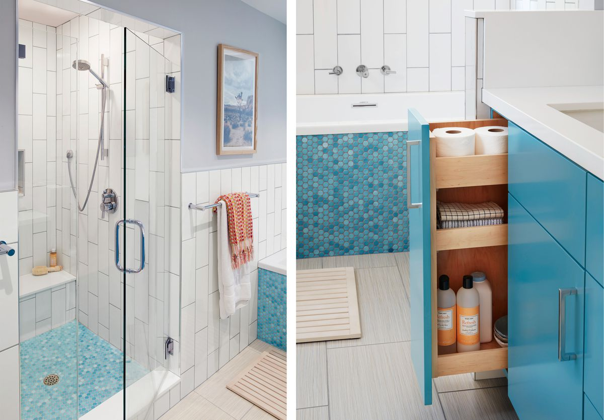 Summer 2021 Before & After Bath, shower, pull-out shelf tower