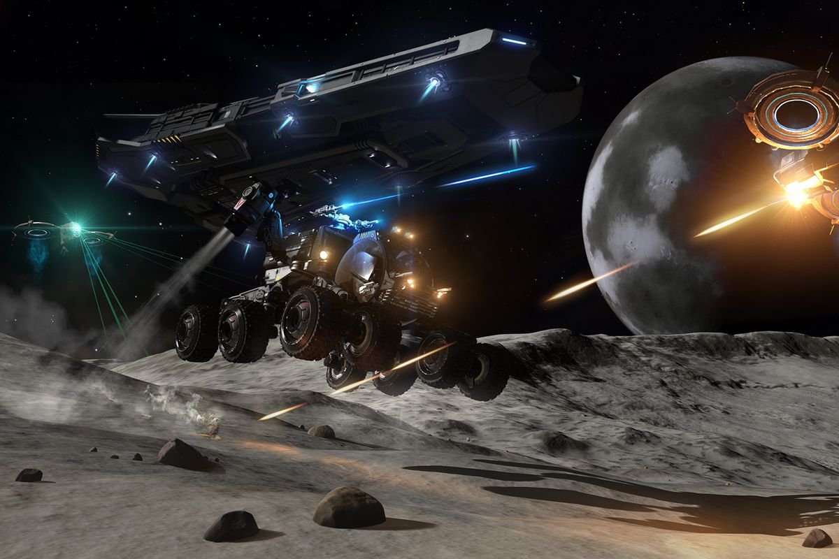 A player-owned SRV leaps over a crater while under fire from a UAV.