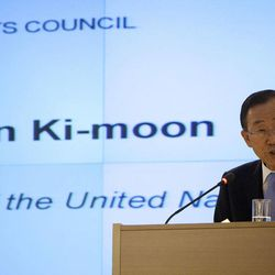 U.N. Secretary-General Ban Ki-moon speaks at the Human Rights Council at the United Nations in Geneva, Switzerland, Monday, Sept. 10, 2012. Ban Ki-moon is urging the world's foremost human rights body to keep up the pressure on major powers to end the civil war in Syria and outbreak of human abuses there.