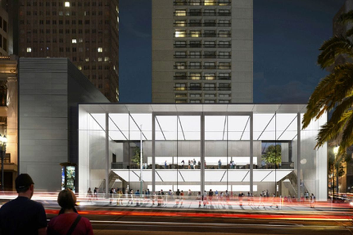 """Rendering from <a href=""""http://apple.com/"""">Apple</a> via <a href=""""http://9to5mac.com/2014/03/11/san-francisco-gives-final-approval-for-brand-new-union-square-apple-retail-store/"""">9to5Mac</a>"""