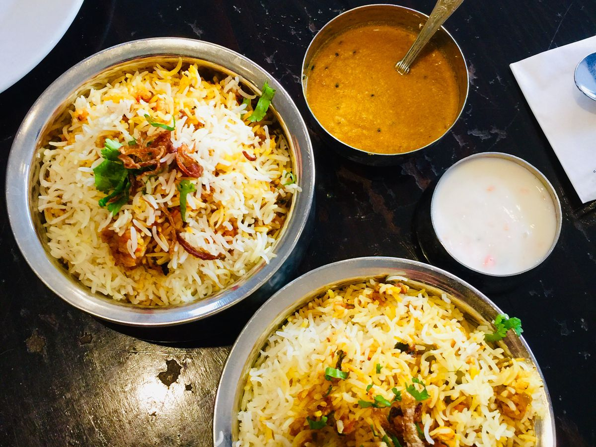 Biryani, cooked dum style, at Hyderabadi Spice —one of the best Indian restaurants in London